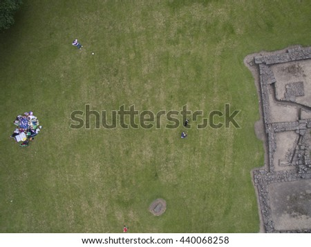 Picnic in the Park in Leeds aerial view - stock photo