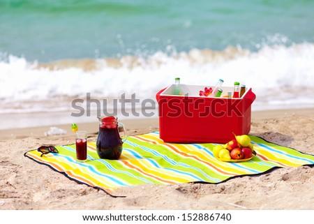 picnic on the beach - stock photo