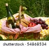 picnic on the grass - stock photo