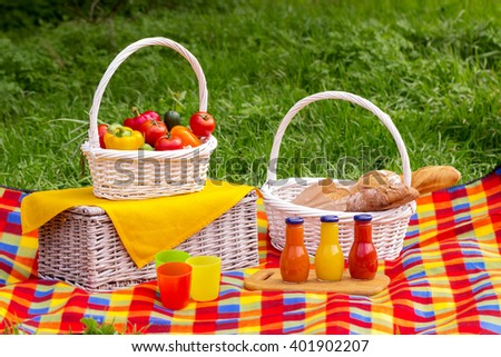 Picnic on the grass. Picnic basket with vegetables and bread. A bottles of juice.