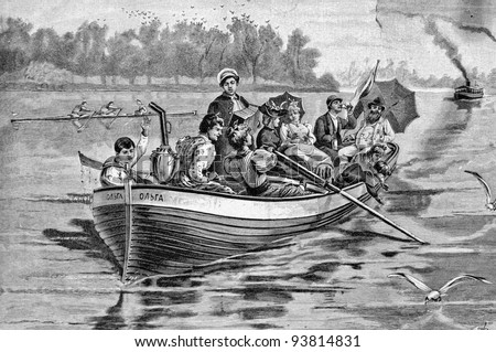"Picnic on the water. Engraving by Schyubler from picture by painter Broling. Published in magazine ""Niva"", publishing house A.F. Marx, St. Petersburg, Russia, 1893 - stock photo"