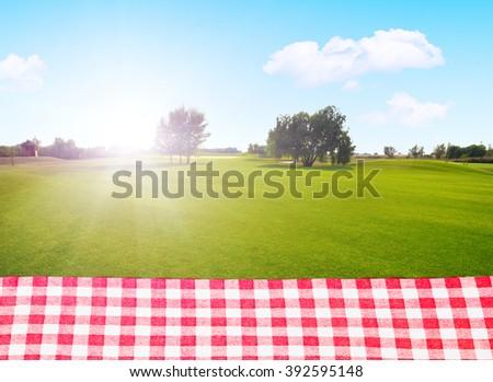 picnic outdoors - stock photo