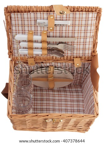 picnic set on a white background - stock photo