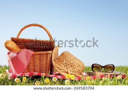 picnic setting on meadow with copy space - stock photo