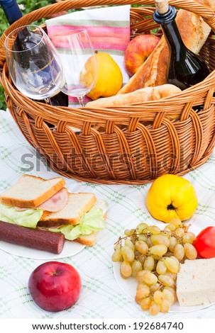 Picnic setting with fresh cheese, grapes, sandwiches and wine.