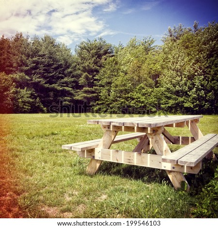 Picnic Table In A Park, Instagram Filter Style