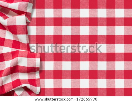 picnic tablecloth checkered red - stock photo