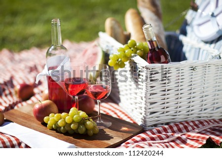 Picnic Time! Fresh food on grass in the garden