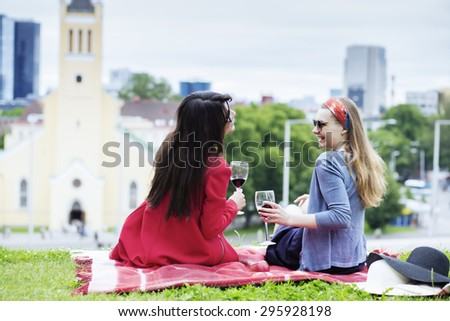 Picnic view with the cityscape of Tallinn - stock photo
