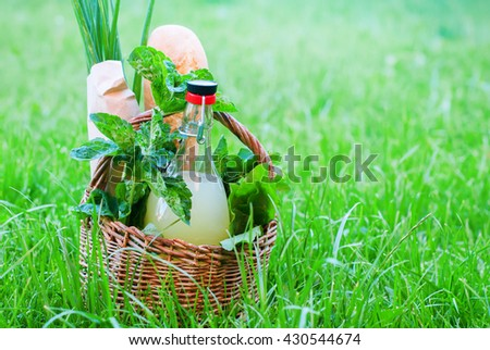 Picnic Wattled Basket Mint Drink Fresh Bread Leaves Greens Rustic Food Summer Grass Outdoor - stock photo