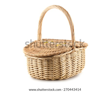 Picnic wicker basket with lid isolated on white background - stock photo