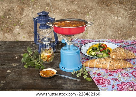 picnic with shakshuka - stock photo