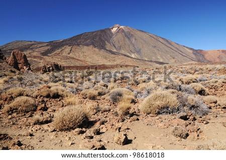 Pico del Teide and Roques de Garcia, Teide National Park, Tenerife, Canary Islands, Spain - stock photo