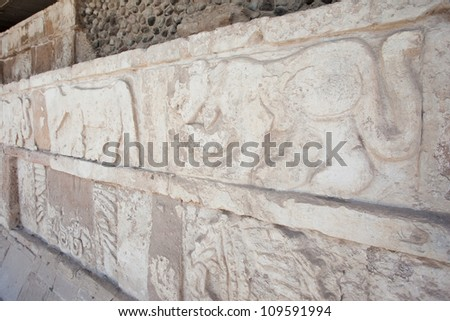 Pictogram. Ancient ruins of Tula de Allende, home of the Atlantean figures and  the characteristic chacmools. In the state of Hidalgo, Mexico. - stock photo