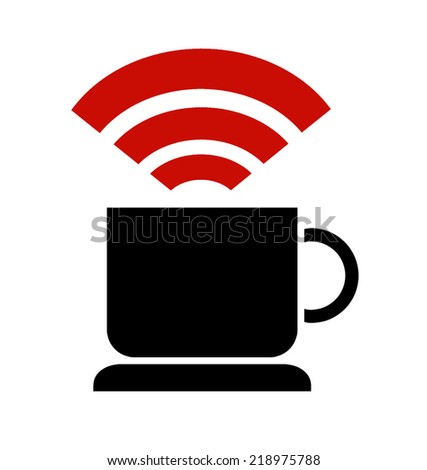 Pictogram of free wi-fi in coffee shop - stock photo