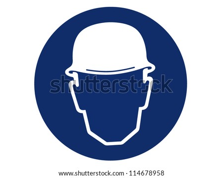 pictogram of head protection - stock photo