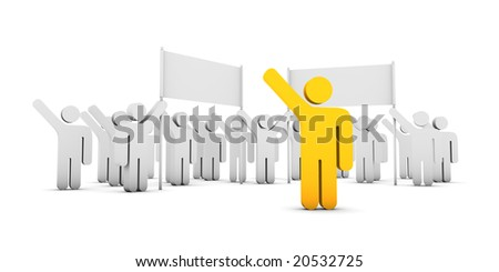 pictograms holding banners, a leading pictogram in foreground - stock photo