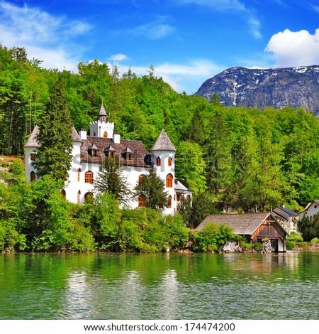 pictorial Austrian Alps and lakes - Hallstatt - stock photo