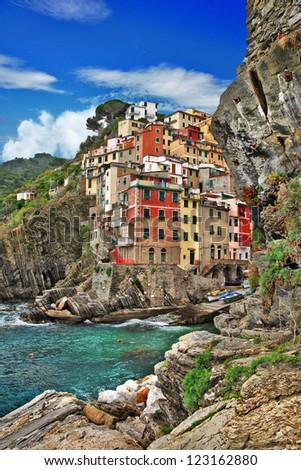 pictorial coast of Italy - Riomagiore - stock photo