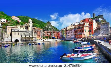 pictorial italian villages - Vernazza, Cinque terre - stock photo