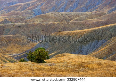Pictorial landscape: colorful hills of blue clay with dry grass in rainy weather. Meganom cape, Crimea.
