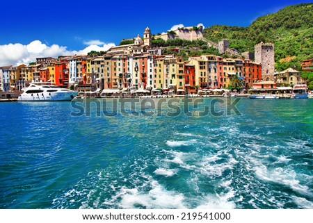 pictorial Liguria - Portovenere, Cinque terre, Italy - stock photo