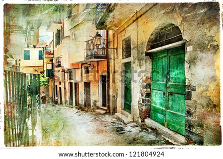 pictorial old streets of Italy, artistic picture - stock photo