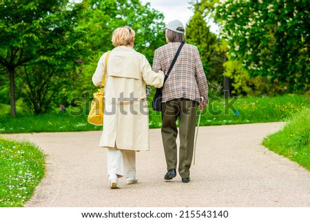 Pictre of Seniors ladyes  walking in park - stock photo