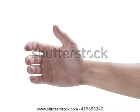 PictuMan's hand on a white background.re 023 - stock photo