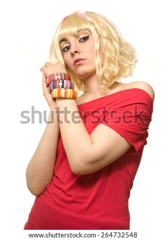 Pictura of woman in blond wig isolated on white - stock photo
