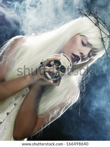 Picture a beautiful angelic long hair woman with skull
