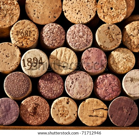 Picture closely wine corks - stock photo