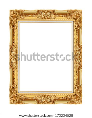 picture frame ancient vintage isolated on white background - stock photo
