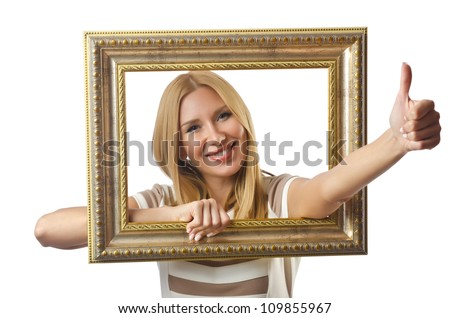 Picture frame and attractive woman