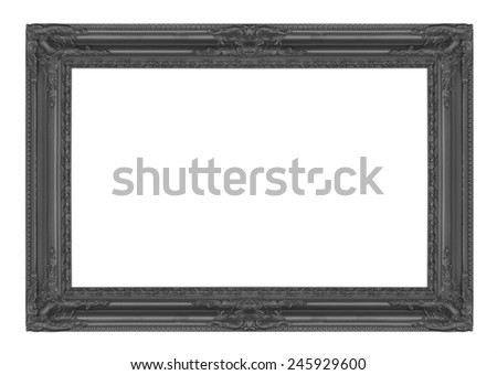 Picture frame black wood frame in white background. - stock photo