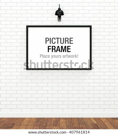 Picture frame display on white brick wall (3D rendered image) - stock photo