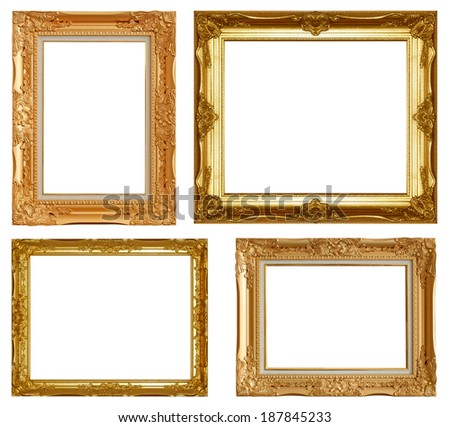 Picture frame gold wood frame on a white background.