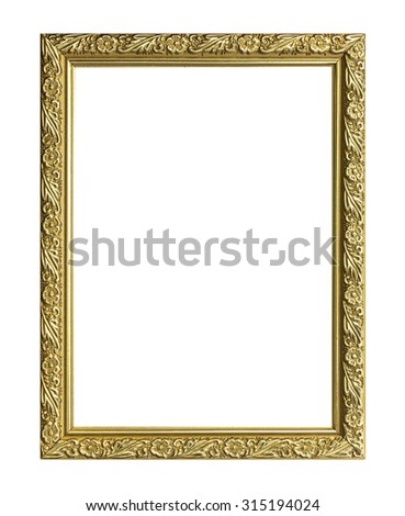 picture frame Golden wooden Carved pattern isolated on a white background.
