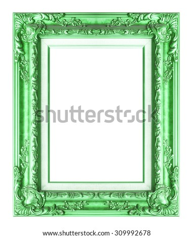 Picture frame green wood frame in white background. - stock photo