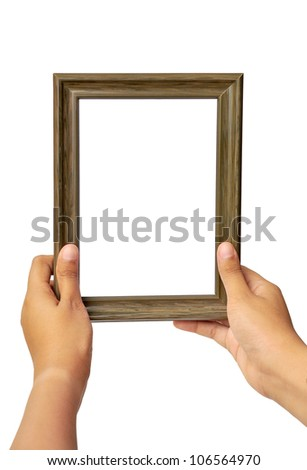 Picture frame in woman hand isolated on white background - stock photo