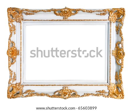 Picture frame isolated over white - stock photo