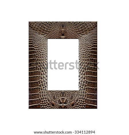 Picture frame made from crocodile leather,isolated on white background, with clipping path - stock photo