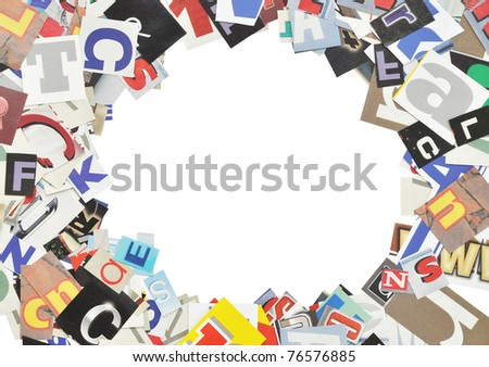 Picture frame, made of newspaper letters,  isolated on white - stock photo
