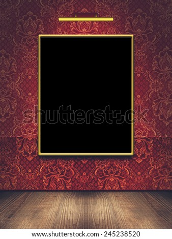 Picture frame on the wall in the room - stock photo