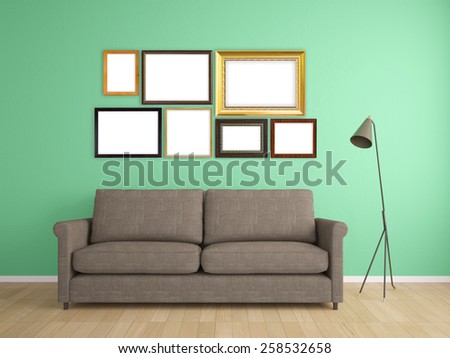 picture frame on wall and sofa interior furniture design - stock photo