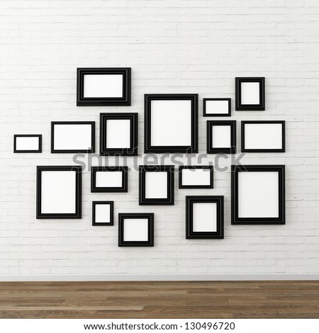 picture frame on  white brick wall - stock photo