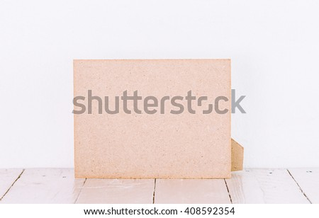 Picture frame on wooden table