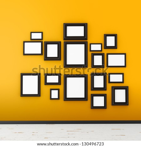 picture frame on yellow wall