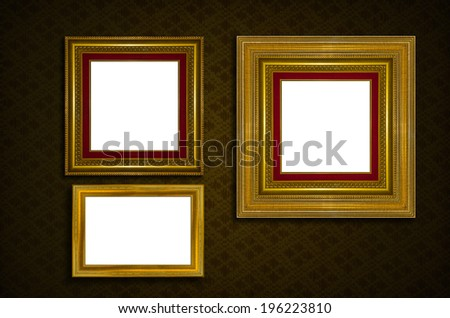 Picture frame . Photo art gallery on vintage wall. - stock photo
