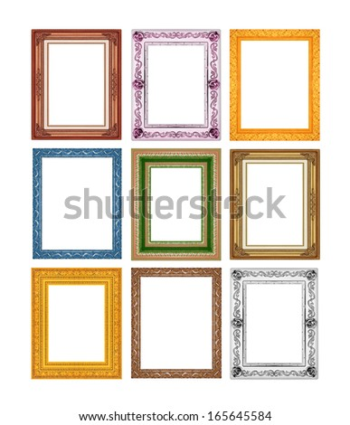 picture frame set ancient vintage isolated on white background. - stock photo